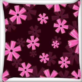 Snoogg Pink Floral Marron Pattern Digitally Printed Cushion Cover Pillow 20 x 20 Inch