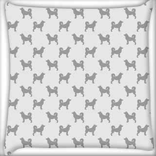 Snoogg Dogs In Grey Pattern Digitally Printed Cushion Cover Pillow 20 x 20 Inch