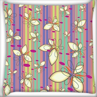 Snoogg Cream Floral Pattern Digitally Printed Cushion Cover Pillow 20 x 20 Inch