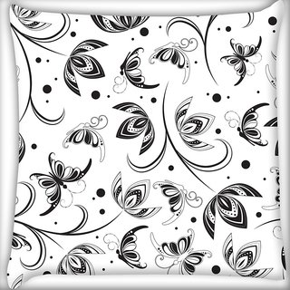 Snoogg Black Flower Digitally Printed Cushion Cover Pillow 20 x 20 Inch