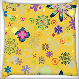 Snoogg Yellow Floral Pattern Digitally Printed Cushion Cover Pillow 20 x 20 Inch