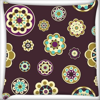 Snoogg Maroon Floral Pattern Digitally Printed Cushion Cover Pillow 20 x 20 Inch