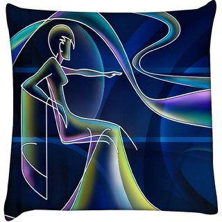 Snoogg neon outline of a woman 2668  Digitally Printed Cushion Cover Pillow 16 x 16 Inch