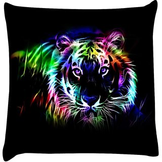 Snoogg neon tiger outline 2669  Digitally Printed Cushion Cover Pillow 16 x 16 Inch