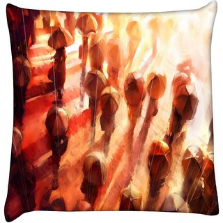 Snoogg people in the rain 2678  Digitally Printed Cushion Cover Pillow 16 x 16 Inch