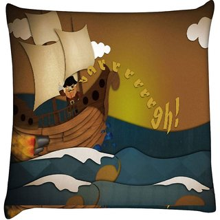 Snoogg pirate ship 2683  Digitally Printed Cushion Cover Pillow 16 x 16 Inch