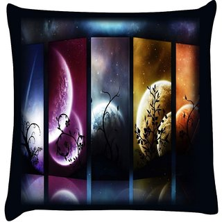 Snoogg planets and moon slides 2684  Digitally Printed Cushion Cover Pillow 16 x 16 Inch