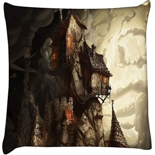 Snoogg haunted mansion 2691  Digitally Printed Cushion Cover Pillow 16 x 16 Inch