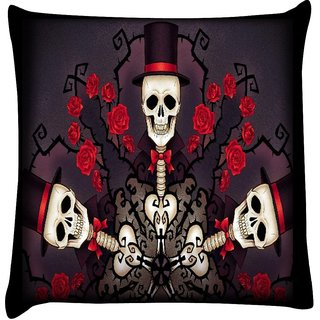 Snoogg skeletons in tophats and roses 2695  Digitally Printed Cushion Cover Pillow 16 x 16 Inch