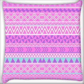 Snoogg Pink Aztec pattern Digitally Printed Cushion Cover Pillow 16 x 16 Inch