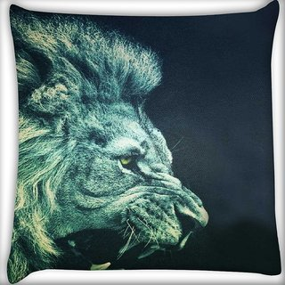 Snoogg Lion Fury Digitally Printed Cushion Cover Pillow 16 x 16 Inch