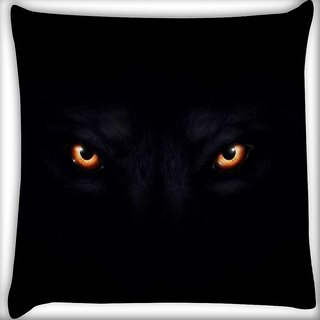 Snoogg Lion eyes dark black Digitally Printed Cushion Cover Pillow 16 x 16 Inch