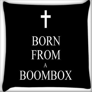 Snoogg Born From A Boombox Digitally Printed Cushion Cover Pillow 16 x 16 Inch