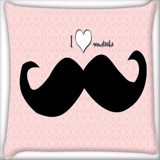 Snoogg I love Mustache Digitally Printed Cushion Cover Pillow 16 x 16 Inch