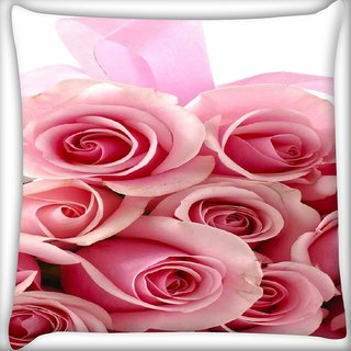Snoogg Pink flower  Digitally Printed Cushion Cover Pillow 16 x 16 Inch