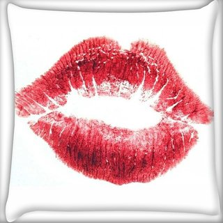 Snoogg Red Lips Kiss Digitally Printed Cushion Cover Pillow 16 x 16 Inch