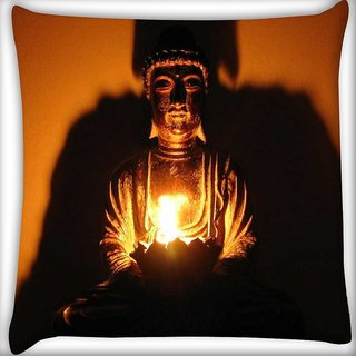 Snoogg Enlighten buddha Digitally Printed Cushion Cover Pillow 16 x 16 Inch