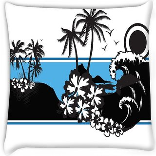 Snoogg  abstract tropical background Digitally Printed Cushion Cover Pillow 16 x 16 Inch