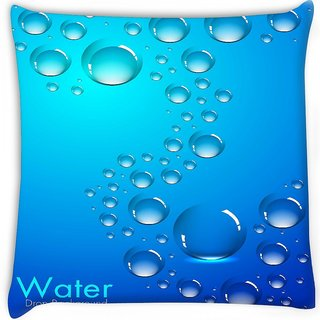 Snoogg  abstract water drops background and space for your text Digitally Printed Cushion Cover Pillow 16 x 16 Inch