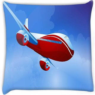 Snoogg  airplane vector Digitally Printed Cushion Cover Pillow 16 x 16 Inch