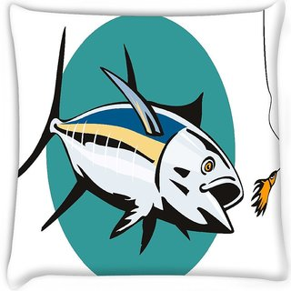 Snoogg  albacore tuna fish retro  Digitally Printed Cushion Cover Pillow 16 x 16 Inch