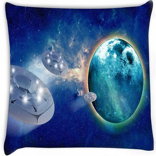 Snoogg  aliens spacecrafts Digitally Printed Cushion Cover Pillow 16 x 16 Inch