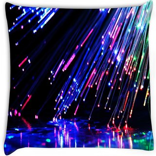 Snoogg  fiber optics Digitally Printed Cushion Cover Pillow 16 x 16 Inch