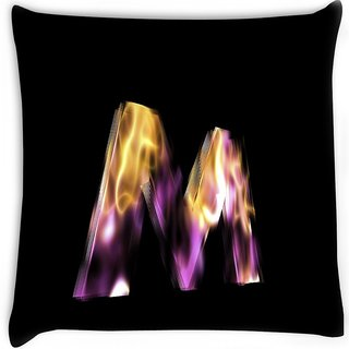 Snoogg  flaming 3d letter Digitally Printed Cushion Cover Pillow 16 x 16 Inch