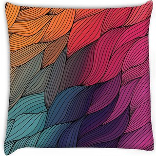 Snoogg  vector abstract hand drawn waves texture Digitally Printed Cushion Cover Pillow 16 x 16 Inch