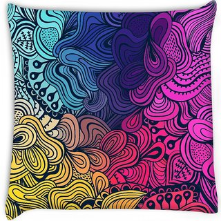 Snoogg  vector seamless texture with abstract flowers endless background ethnic sea Digitally Printed Cushion Cover Pillow 16 x 16 Inch