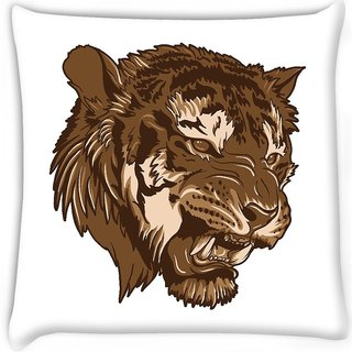 Snoogg  vector tiger Digitally Printed Cushion Cover Pillow 16 x 16 Inch
