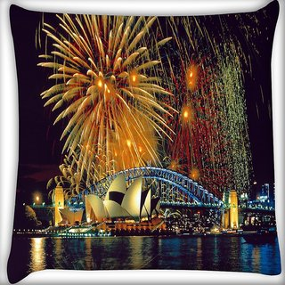 Snoogg Fire Crackers Digitally Printed Cushion Cover Pillow 16 x 16 Inch