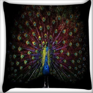 Snoogg Peacock Digitally Printed Cushion Cover Pillow 16 x 16 Inch