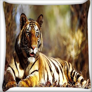 Snoogg Croaching Tiger Digitally Printed Cushion Cover Pillow 16 x 16 Inch