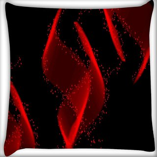 Snoogg Red Florasen Design Digitally Printed Cushion Cover Pillow 16 x 16 Inch