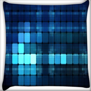 Snoogg Blue Lights Wide Digitally Printed Cushion Cover Pillow 16 x 16 Inch