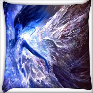 Snoogg Blue Fairy Fantasy Digitally Printed Cushion Cover Pillow 16 x 16 Inch