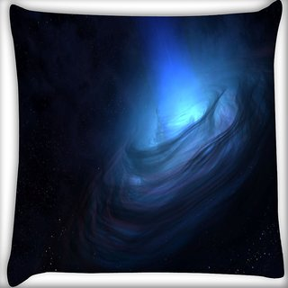 Snoogg Blue Nebula Digitally Printed Cushion Cover Pillow 16 x 16 Inch