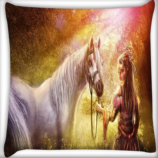 Snoogg Girl Horse Wood Art Digitally Printed Cushion Cover Pillow 16 x 16 Inch
