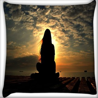 Snoogg Girl Silhouette In The Sunset Light Digitally Printed Cushion Cover Pillow 16 x 16 Inch