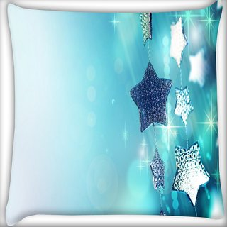 Snoogg Glitter Garland Blue Christmas Ornaments Digitally Printed Cushion Cover Pillow 16 x 16 Inch