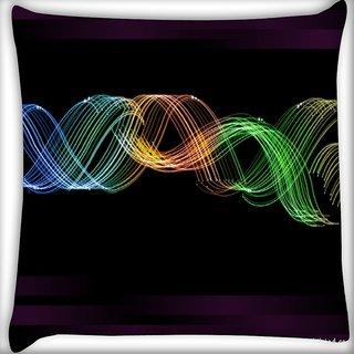 Snoogg Glowing Neon Effect Digitally Printed Cushion Cover Pillow 16 x 16 Inch