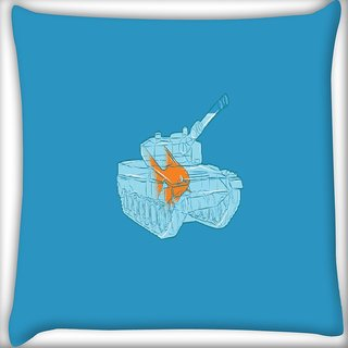 Snoogg Goldfish In A Tank Bowl Digitally Printed Cushion Cover Pillow 16 x 16 Inch