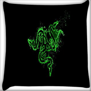 Snoogg Green Razer Logo Digitally Printed Cushion Cover Pillow 16 x 16 Inch