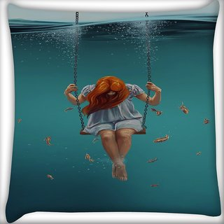 Snoogg Swing Inside Water Digitally Printed Cushion Cover Pillow 16 x 16 Inch