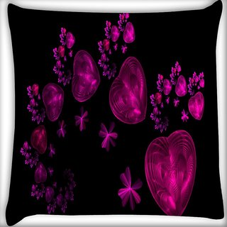 Snoogg Happy Valentine Heart Digitally Printed Cushion Cover Pillow 16 x 16 Inch
