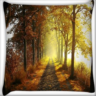 Snoogg Alone Path In Forest Digitally Printed Cushion Cover Pillow 16 x 16 Inch