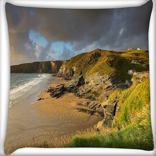 Snoogg Beach Side View Digitally Printed Cushion Cover Pillow 16 x 16 Inch