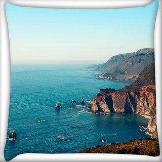 Snoogg Blue Ocean Digitally Printed Cushion Cover Pillow 16 x 16 Inch