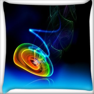 Snoogg Neon Circles Digitally Printed Cushion Cover Pillow 16 x 16 Inch
